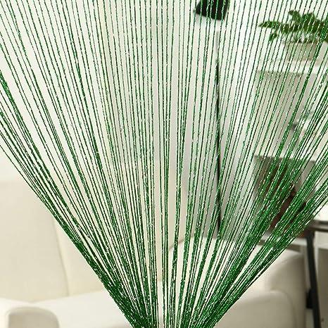 "Bedroom Window Divider Dark Green W*H String Curtain Fringe Panel 39/"" x 79/"""