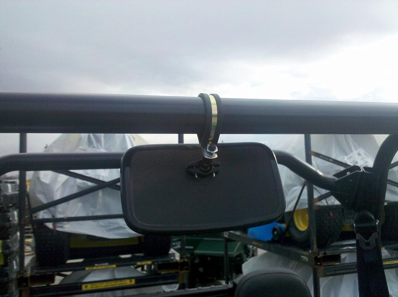Rear View Mirror Fits Polaris and John Deere UTVs w// ROUND ROLL BARS