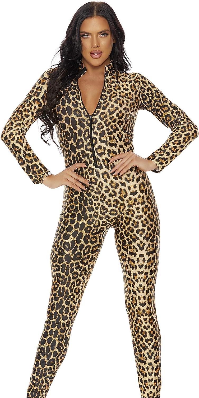 Leopard Print Spandex Lycra Bodysuit Playsuit Turtleneck Long Sleeved Size 12-14
