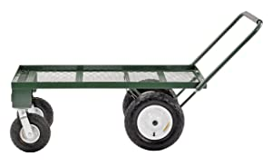 "Sandusky FW4824 Heavy Duty Steel 4 Wheel Flat Wagon with Pull Handle, 750 lbs Capacity, 48"" Length x 24"" Width"