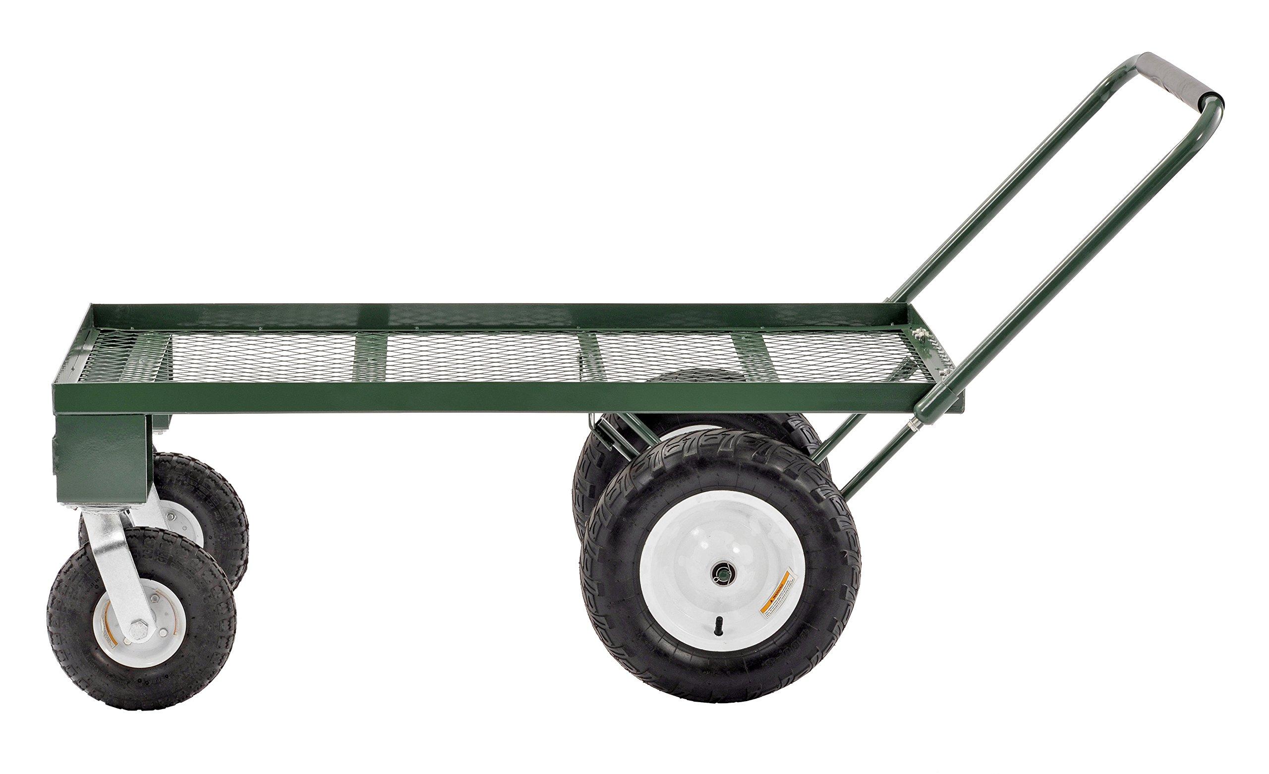 Sandusky FW4824 Heavy Duty Steel 4 Wheel Flat Wagon with Pull Handle, 750 lbs Capacity, 48'' Length x 24'' Width