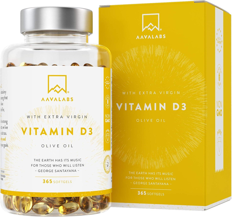 Vitamina D3 [5000 UI] Pura Altamente Concentrada - Vit D3 con Aceite de Oliva Extra Virgen para una Absorción Óptima - Favorece la Función Ósea e Inmunológica - Complemento Alimenticio de 365 Cápsulas