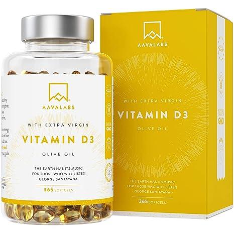 Vitamina D3 [5000 UI] Pura Altamente Concentrada - Vit D3 con Aceite de Oliva Extra Virgen para una Absorción Óptima - Favorece la Función Ósea e ...