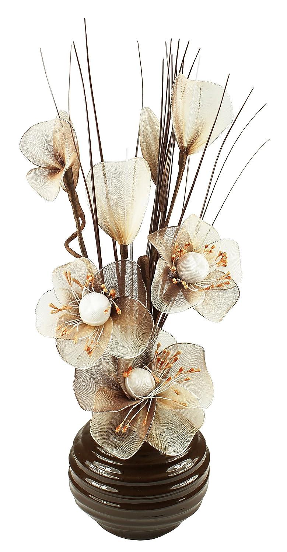Flourish-Vaso con Fiori Artificiali, Colore: Marrone, Colore: caffè/Crema, 75 cm 797508
