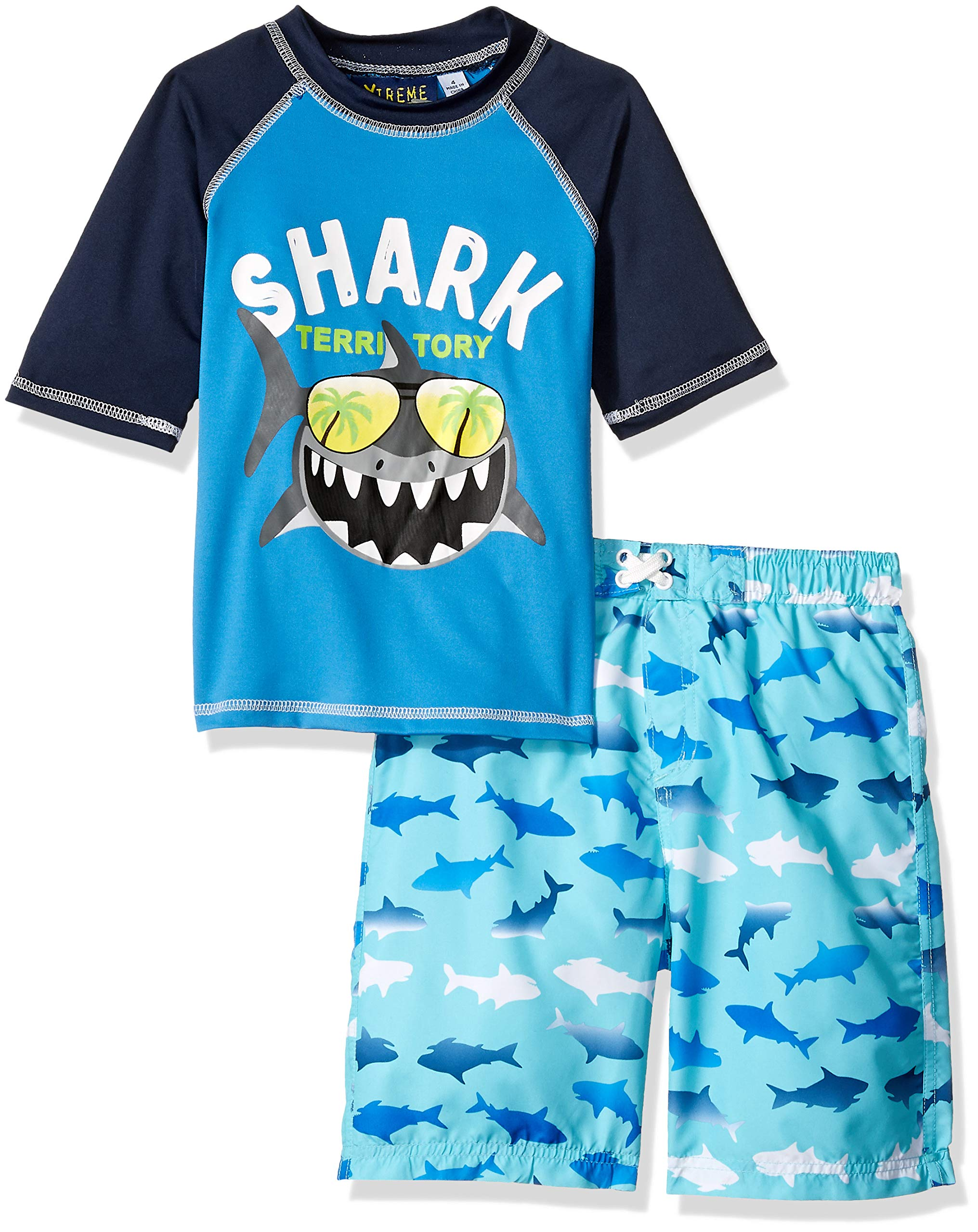 iXtreme Little Boys' Printed Rashguard Sets, Electric Blue, 7