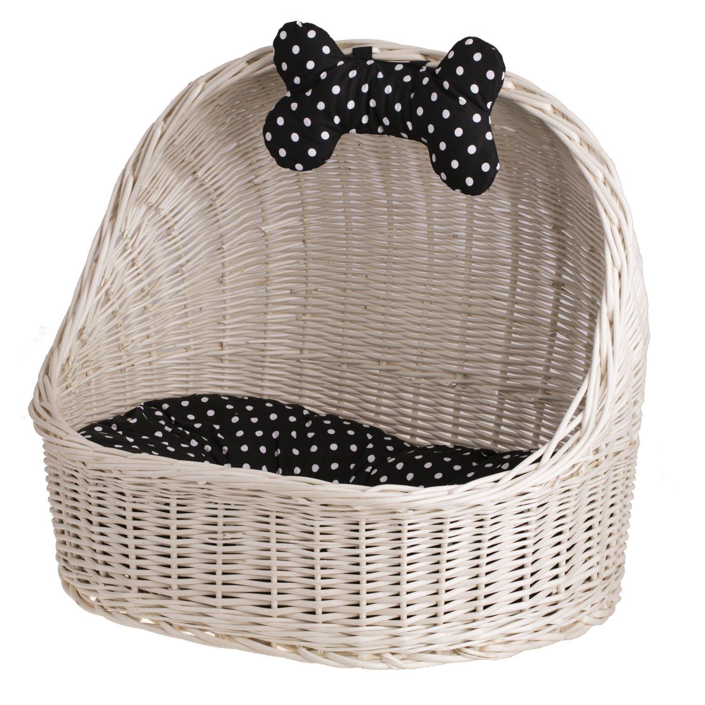 Beige ewicker24 dog cat basket, wicker basket, 60 x 46 x 48 cm, basket, beige, 60 x 46 x 48 cm