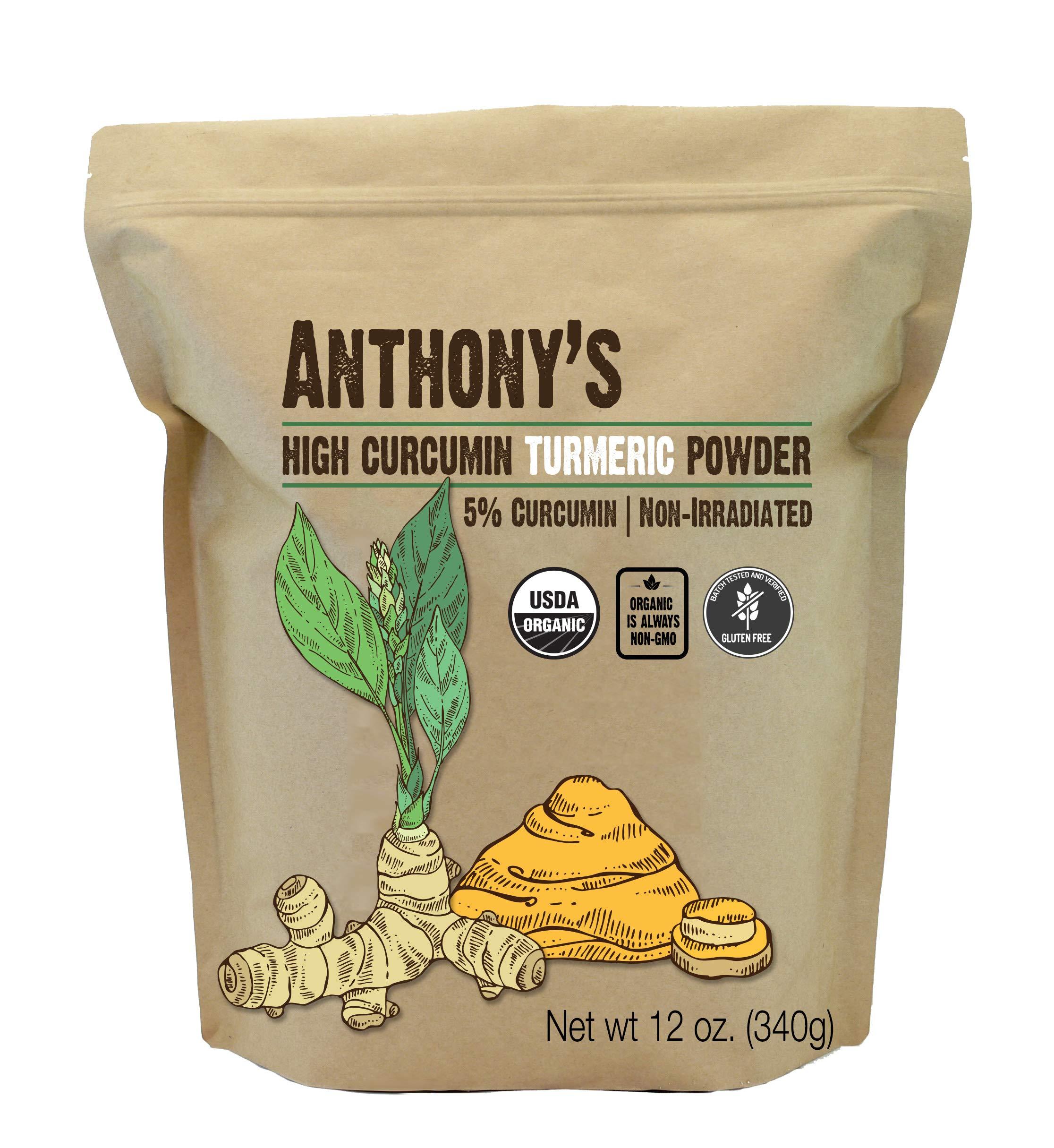 Anthony's Organic High Curcumin Turmeric Powder (12oz) Batch Tested Gluten Free, Non-GMO, Non-Irradiated