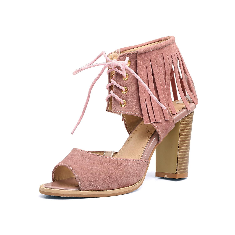 QIN&X Frauen Blockabsatz Blockabsatz Blockabsatz Fisch Mund Stiefel Sandalen Pink 4baa08