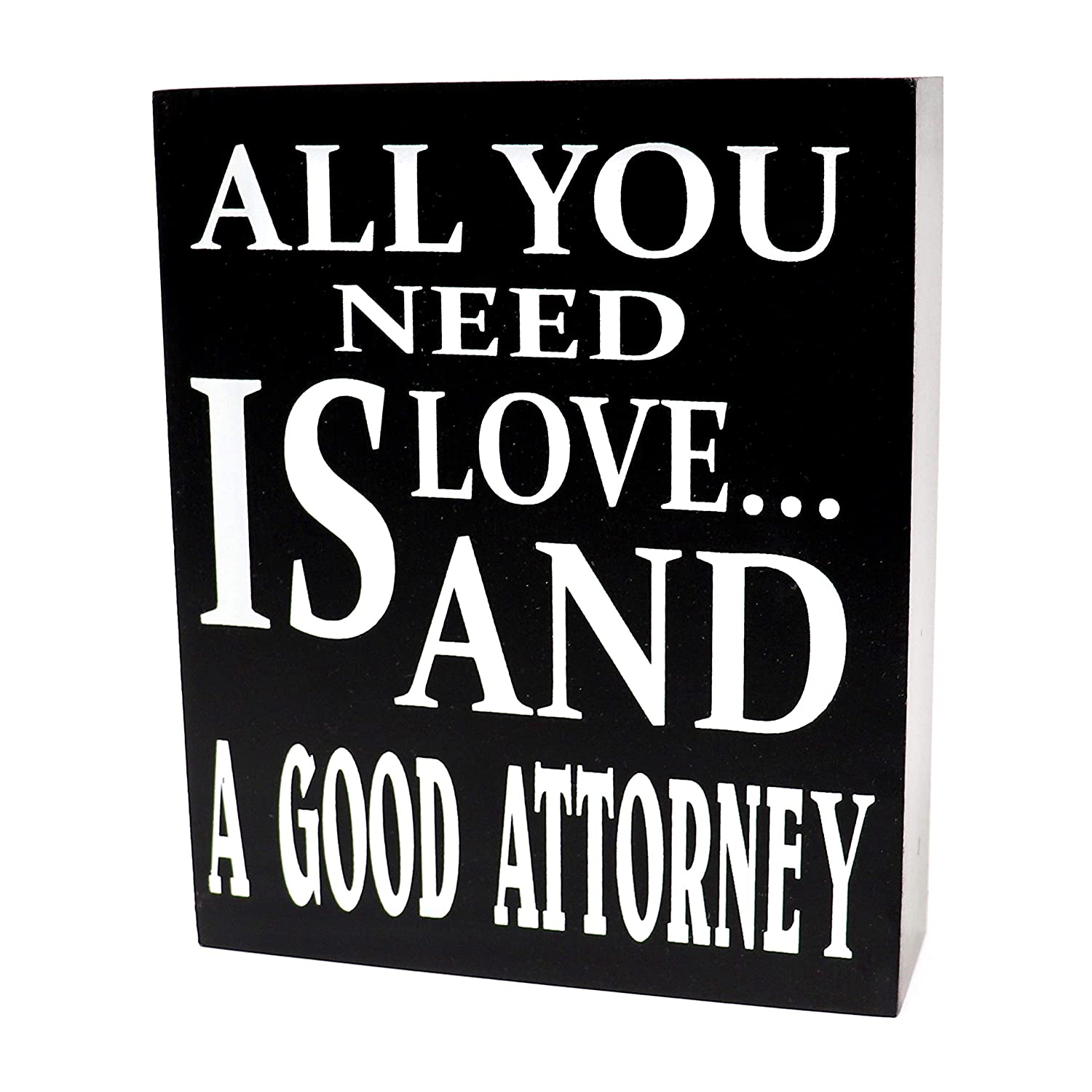 JennyGems Lawyer Sign, Lawyer Gifts, Wood Signs - All You Need is Love and A Good Attorney - Lawyer Plaque - Attorney and Lawyer Gifts - Law Student Gift - Gifts for Attorney