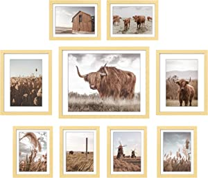ArtbyHannah 9 Pack Framed Highland Cow Art and Farmhouse Wall Decor Picture Frame Set for Gallery Frame Wall Kit with Rustic Decorative Photo Art Prints Artworks & Hanging Template for Bedroom Living Room Decoration