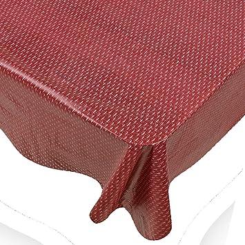 Claret Dash Print Indoor/Outdoor Vinyl Flannel Backed Tablecloth   70 Round