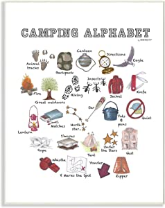 The Kids Room by Stupell Watercolor Camping Alphabet with Map Tent and Animal Tracks Wall Plaque Art, 12x18, Multi-Color