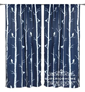 Set of 2 Rod Pocket Navy Blue/White Bird on the Tree Window Panel 104