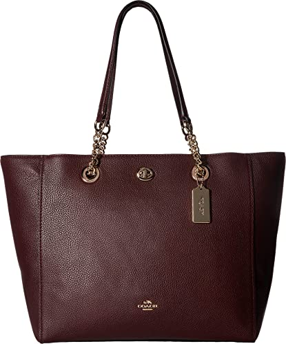 Image Unavailable. Image not available for. Color  COACH Women s Pebbled  Turnlock Chain Tote LI Oxblood Handbag bc51b349b1