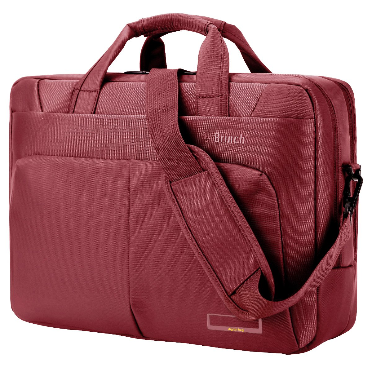 Laptop Bag Briefcase, BRINCH 15.6 inch Stylish Roomy Multi-Compartment Laptop Shoulder Messenger Bag Business Travel Briefcase for Men/Women Fits 15-15.6 inch Laptop/Notebook Computers,Red