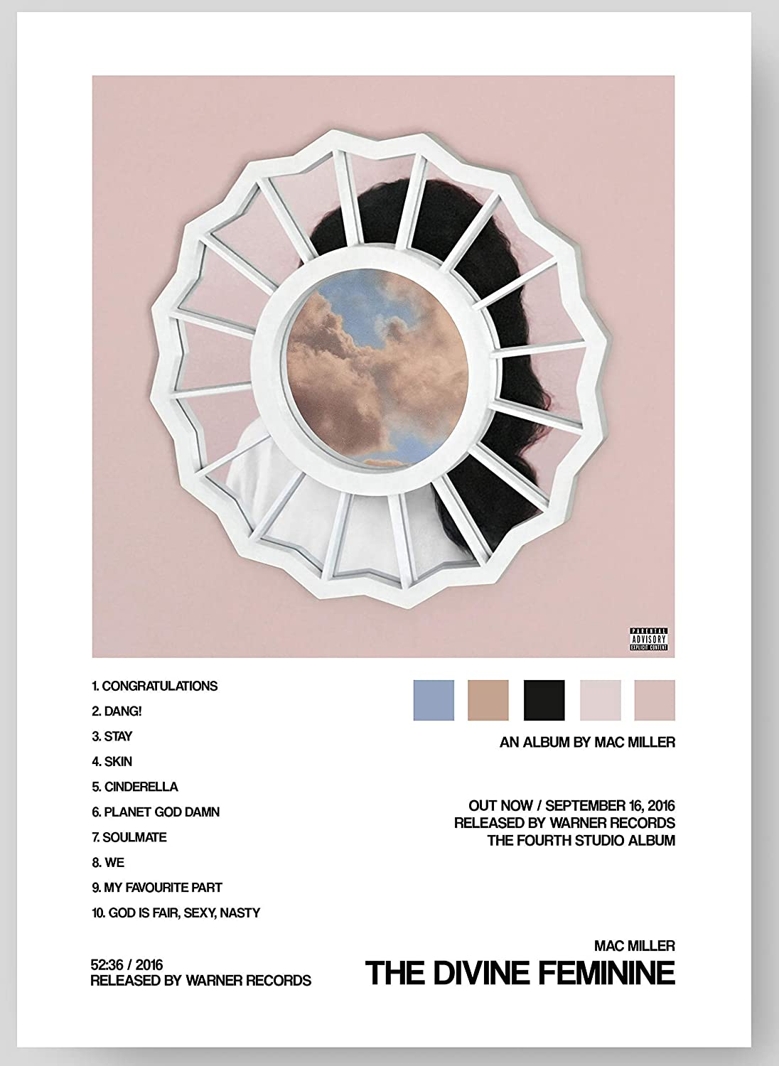 """Mac Miller - The Divine Feminine Album Cover Poster Print With Track List and Color Tiles - 11"""" x 17"""" inches Ready to Frame - Wall Art"""