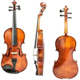 Guumuh X59 Violin 4/4 Full Size, Ebony Fingerboard, Pegs, Chinrest, Maple Spruce Solidwood Violin with Electric Tuner, Two Rosins, Bow and Case,