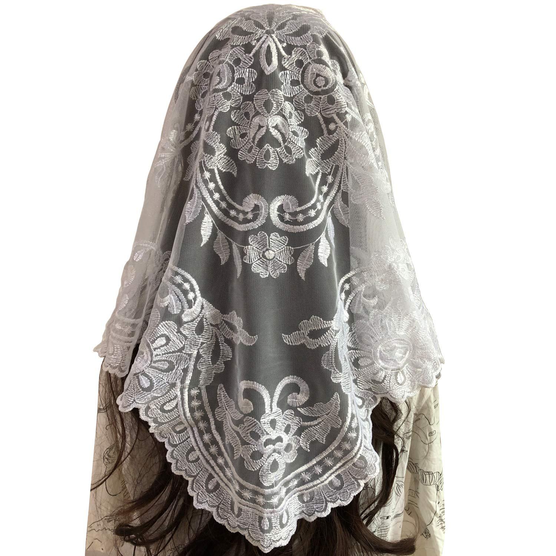 Spanish Mantilla White Mantilla Catholic church chapel scarf Embroidery lace Mass, 120cm60cm