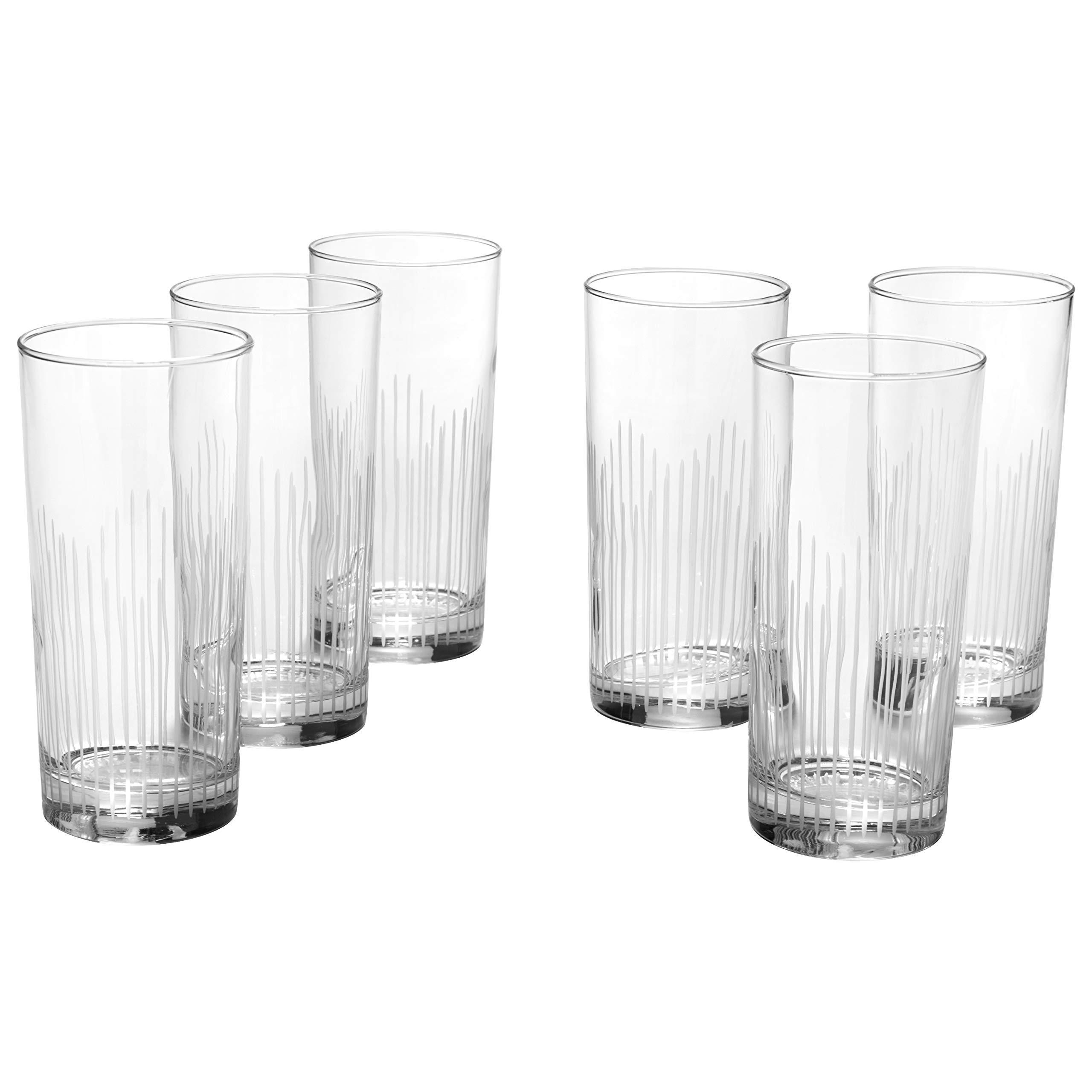 Rivet Modern 16 oz. Highball Glass, Set of 6, Clear Glass with Decorative Etching by Rivet