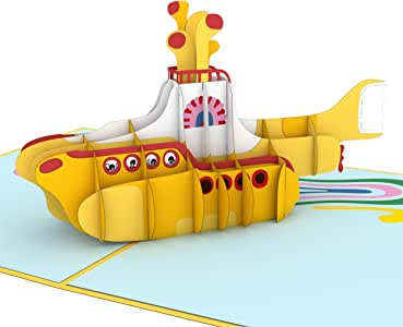 Lovepop The Beatles Yellow Submarine Pop Up Card, Father's Day Card, 3D Cards, Card For Dad, Pop Up Birthday Card, Greeting Cards, Beatles Card
