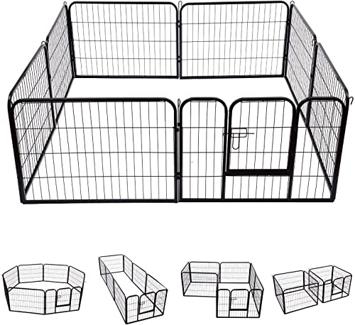 S AFSTAR Safstar Pet Exercise Pen with Door, 8 Panels Portable Puppy Cage, Metal Dog Playpen Indoor Outdoor Fence 40-Inch Black