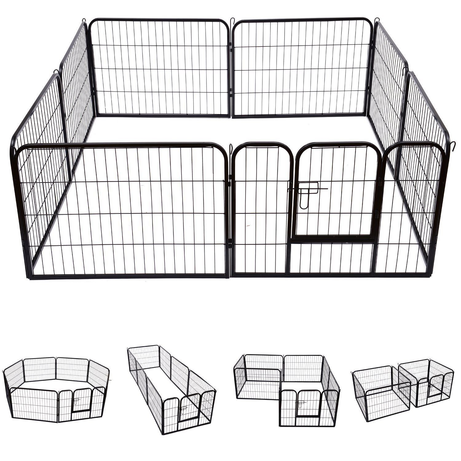 Safstar Heavy Duty Pet Dog Puppy Outdoor Exercise Playpen Fence Door Black 8 Panels (40'': 40''H x 31''W)