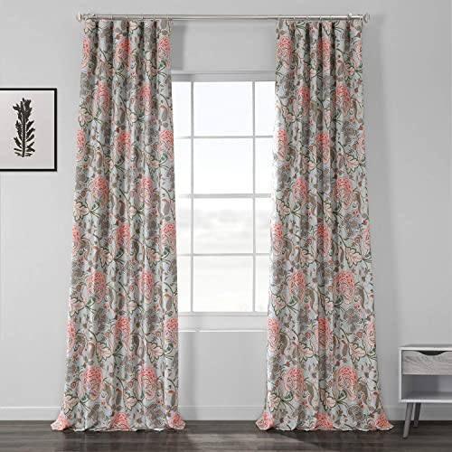 HPD Half Price Drapes BOCH-DLN1914-108 Printed Linen Textured Blackout Curtain 1 Panel