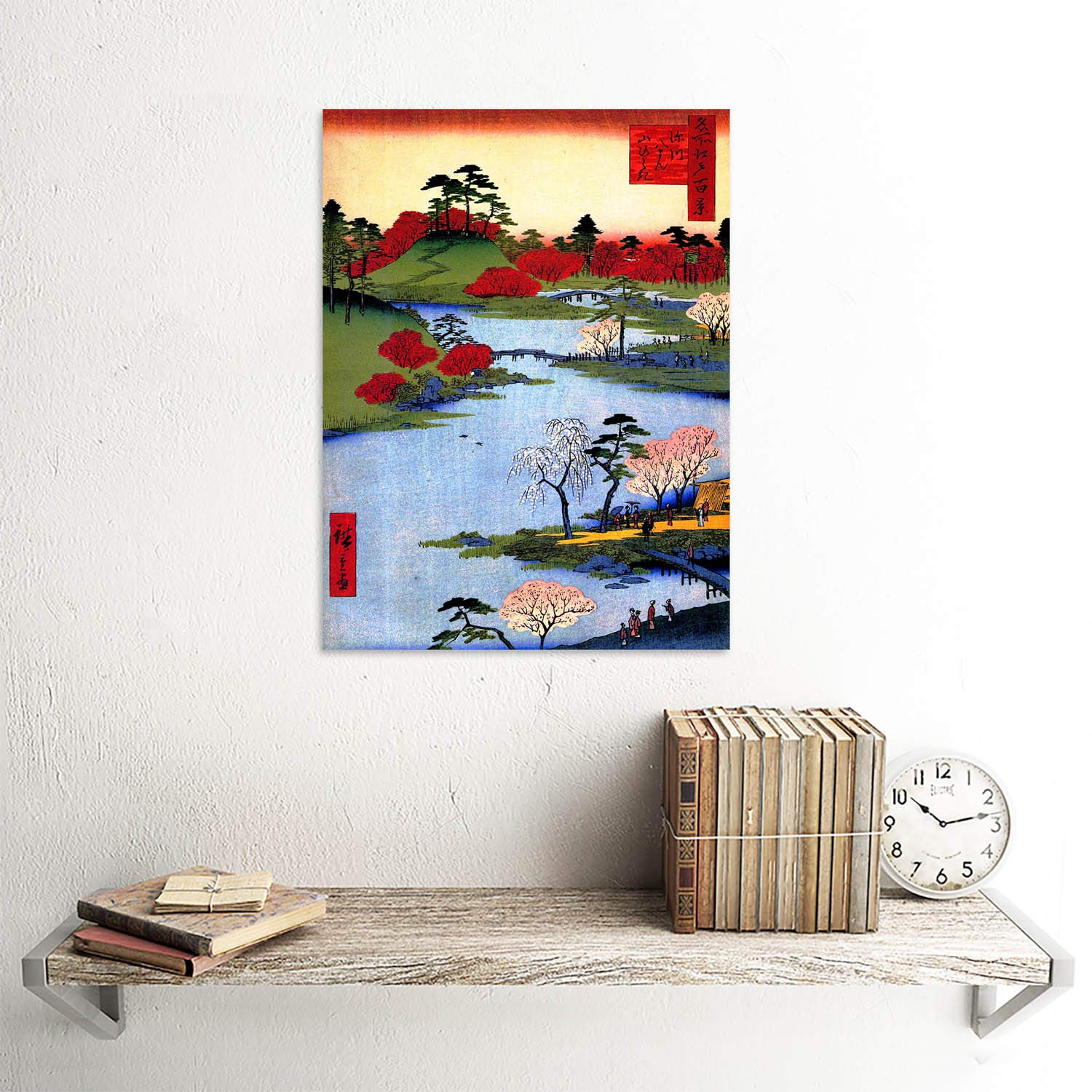 PAINTING JAPANESE WOODBLOCK COLOURFUL TREES RIVER FINE ART PRINT POSTER CC3452