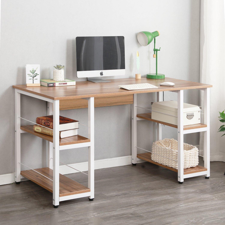 Soges Home Office Desk 55 inches Computer Desk,Morden Style with Open Shelves Worksation, Oak DZ012-140-OK