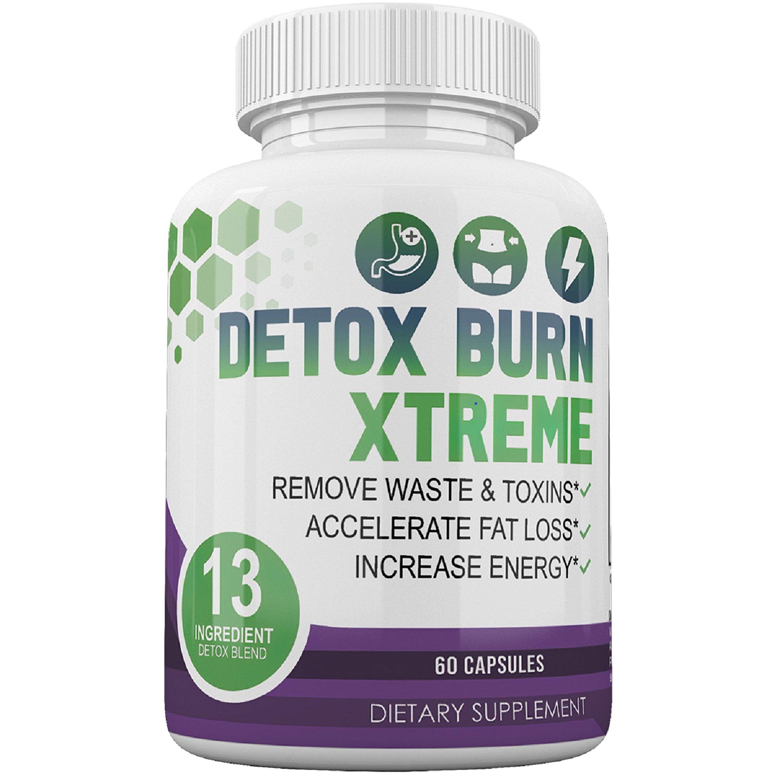 Detox Burn Xtreme - 13 Ingredient Detox Blend - Dietary Supplement - 60 Capsules - 30 Day Supply