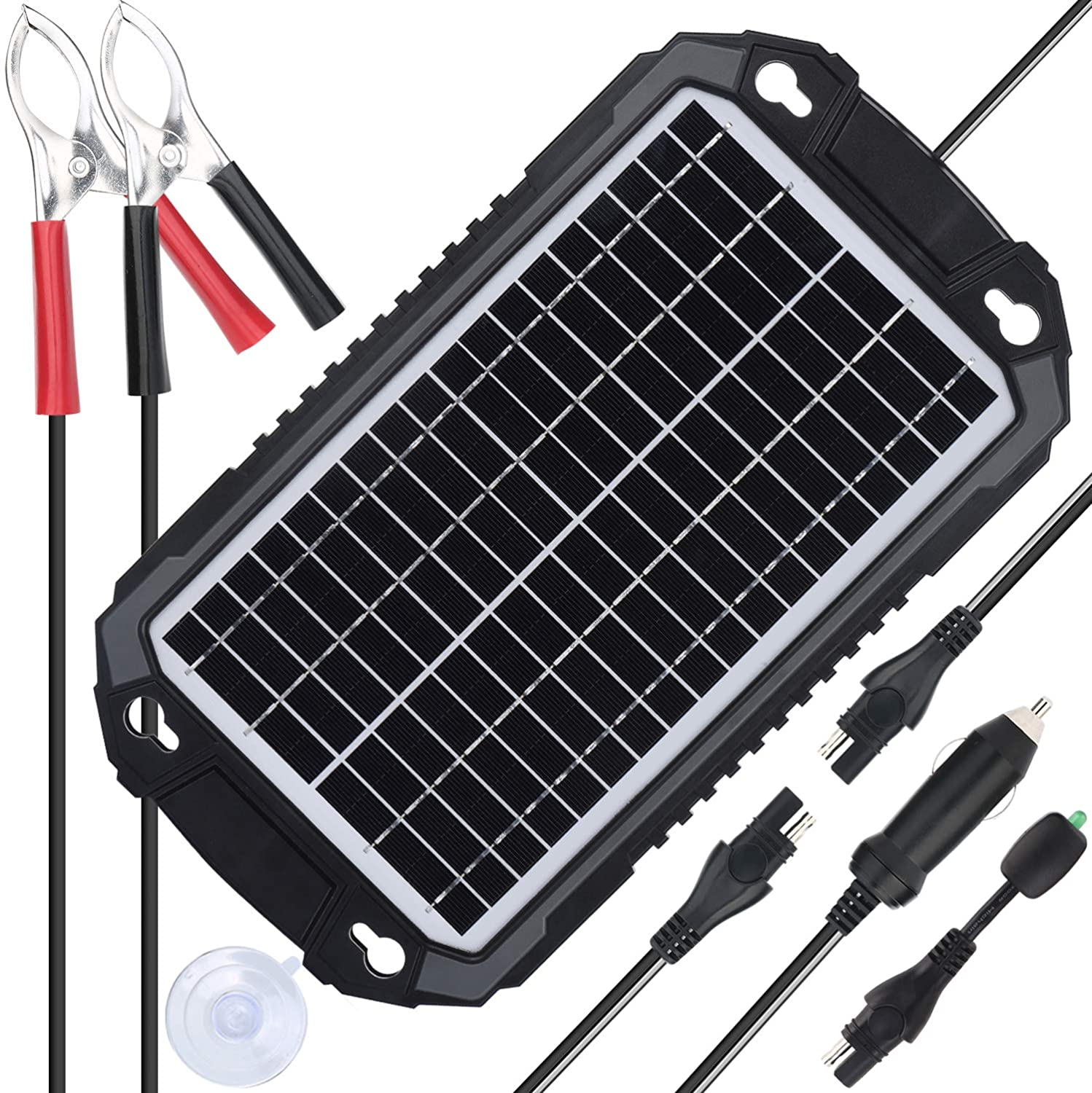 SUNER POWER 12V Solar Car Battery Charger Maintainer – Waterproof 8W Solar Panel Trickle Charging Kit for Automotive, Motorcycle, Boat, Marine, RV, Trailer, Powersports, Snowmobile, etc.