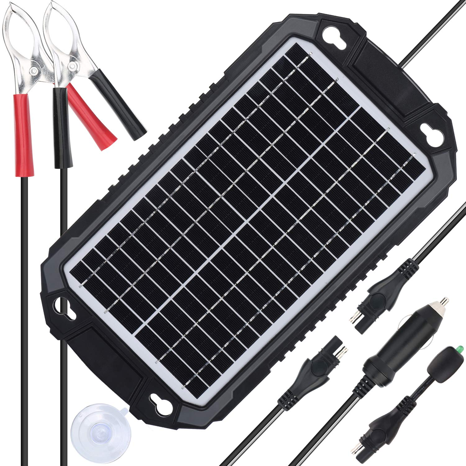 SUNER POWER 12V Solar Car Battery Charger & Maintainer - Waterproof 8W Solar Panel Trickle Charging Kit for Automotive, Motorcycle, Boat, Marine, RV, Trailer, Powersports, Snowmobile, etc. by SUNER POWER