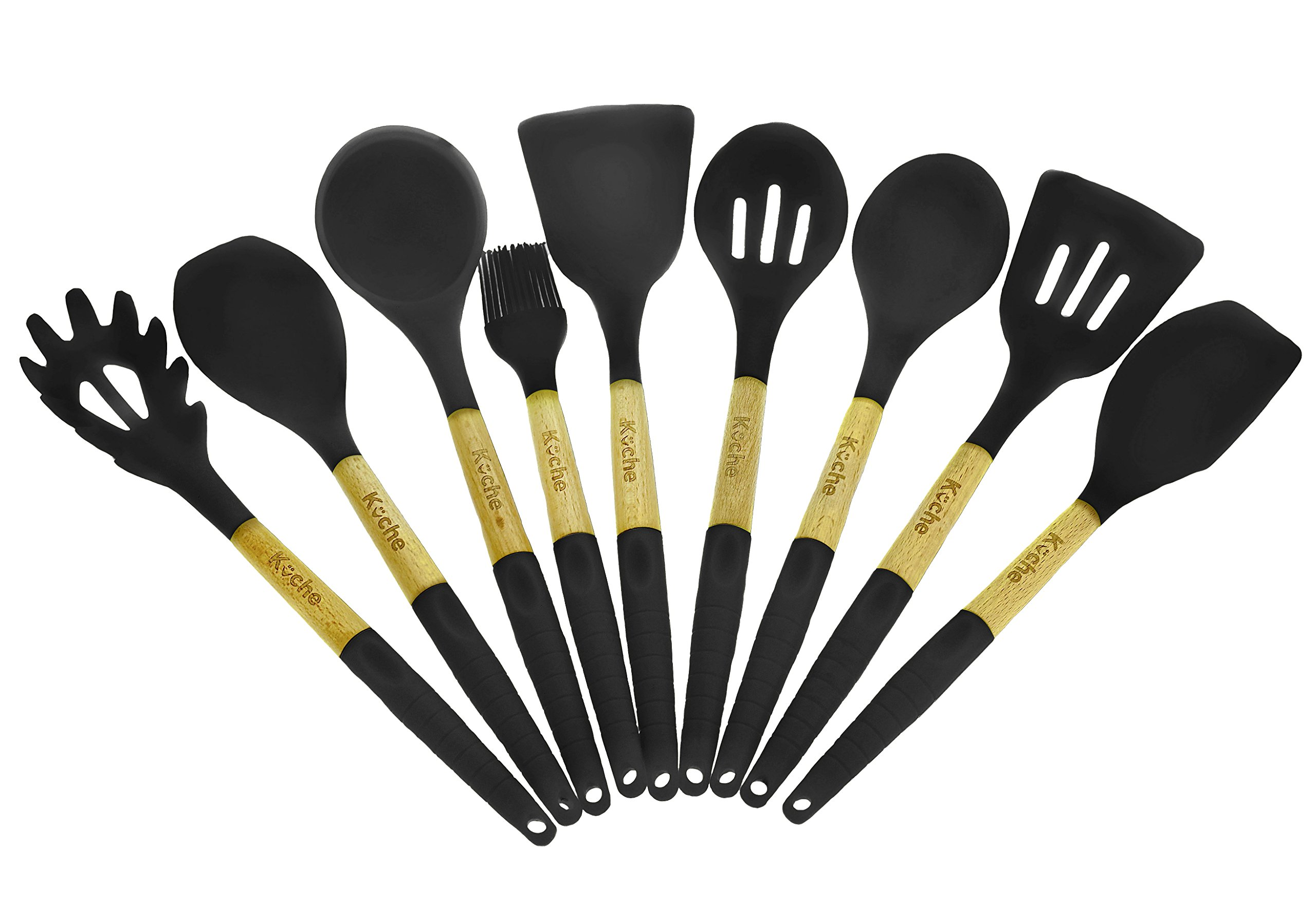 Cooking Utensils – Kitchen Utensil Set Of 9 Pieces Made Of Silicone & Beech Wood – For Professionals, Parents, Cooks – Kitchen Cooking Tool Set, High Heat Resistant By Kuche (Cool Gray)