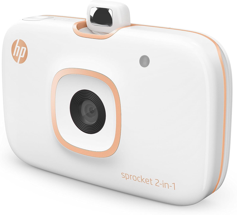 HP Sprocket 2 en 1 - Impresora portátil para smartphone y cámara instantánea, color blanco