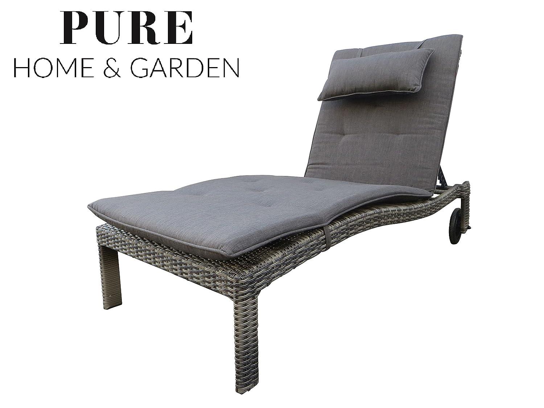 XXL Polyrattan Rollliege Cima grau inkl. 8 cm Auflage mit Kopfkissen von Pure Home & Garden