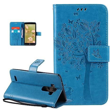 Carcasa LG G4, Funda LG G4, ikasus® Carcasa LG G4 piel Bookstyle funda funda Case, Diseño gaufrage gato mariposa flor floral forma árbol diseño funda ...