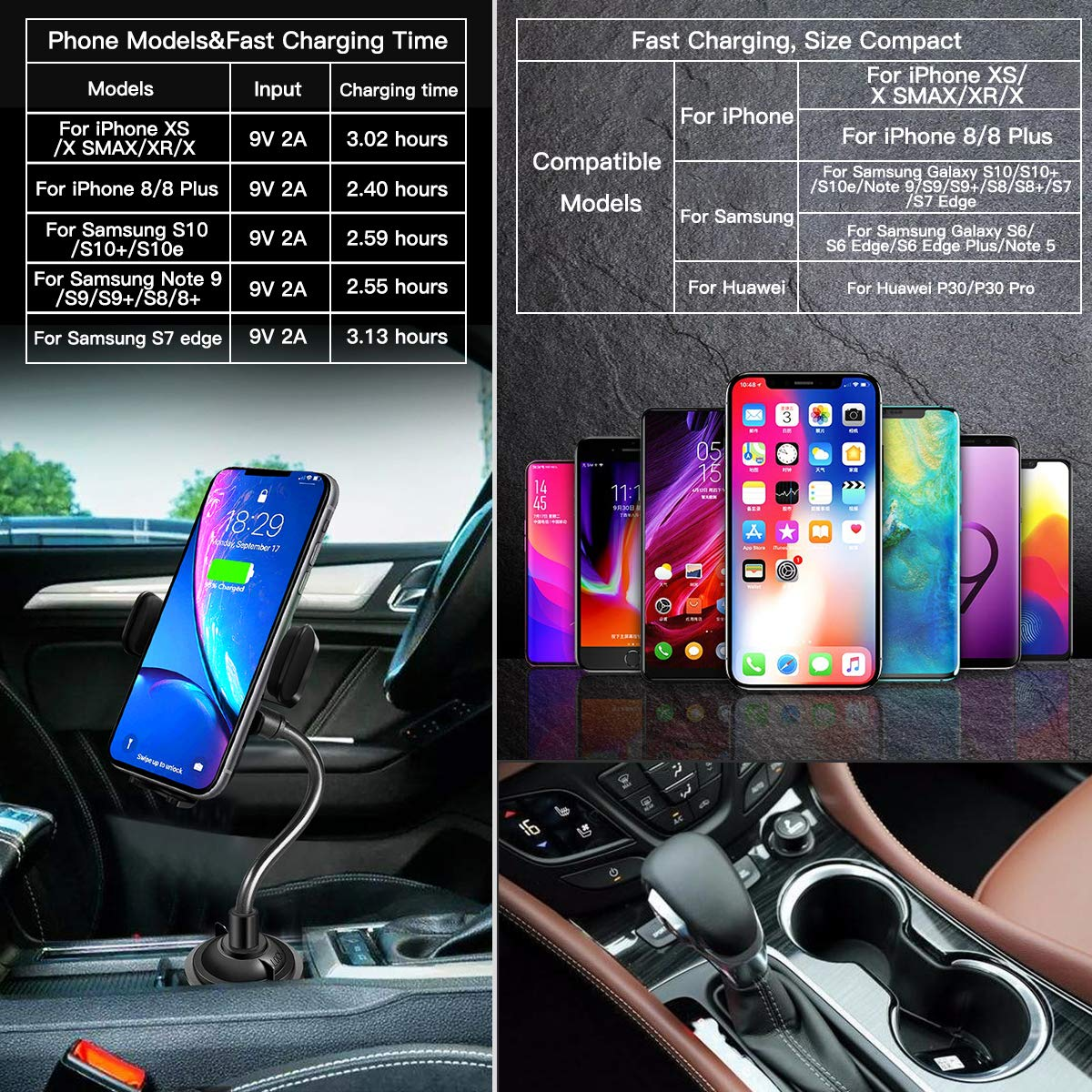 //X//XR//XS Max Qi-Phones Wireless Charger Car Cup Phone Holder, One Hand Operation Car Mount Compatible for Samsung Galaxy S10//S10+ S9//S8 Note 9 and iPhone 11//11Pro Max 10W Qi Fast Wireless Charging