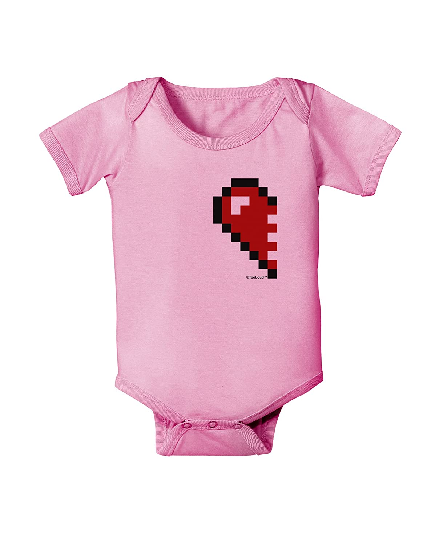 TooLoud Couples Pixel Heart Design Left Baby Romper Bodysuit