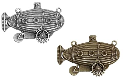 Zeppelin Airship Steampunk 4 Pack Pendant Charm Connectors