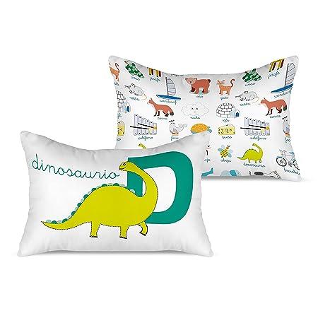 Rubio Hogar Funda Cojín Dinosaurio, Algodón, Blanco, Individual, 25x18x0.10 cm