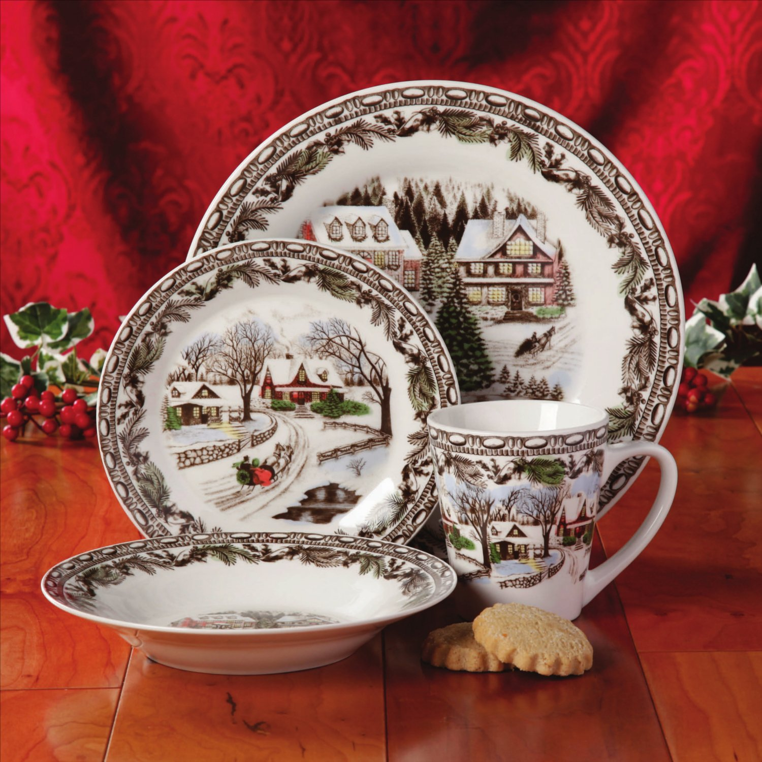 Christmas Toile 16-Piece Multicolor Dinnerware Set Service for 4 - ChristmasTablescapeDecor.com