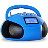 oneConcept Bamboombox • Mini-Boombox • Mini-Radio • Kompaktradio • UKW Radio • Bluetooth • drahtlose Musikwiedergabe • MP3-fähiger USB-Port • SD-Slot • AUX • Stereo-Lautsprecher • LCD-Display • Weckfunktion • Teleskopantenne • Tragegriff • Akku • blau