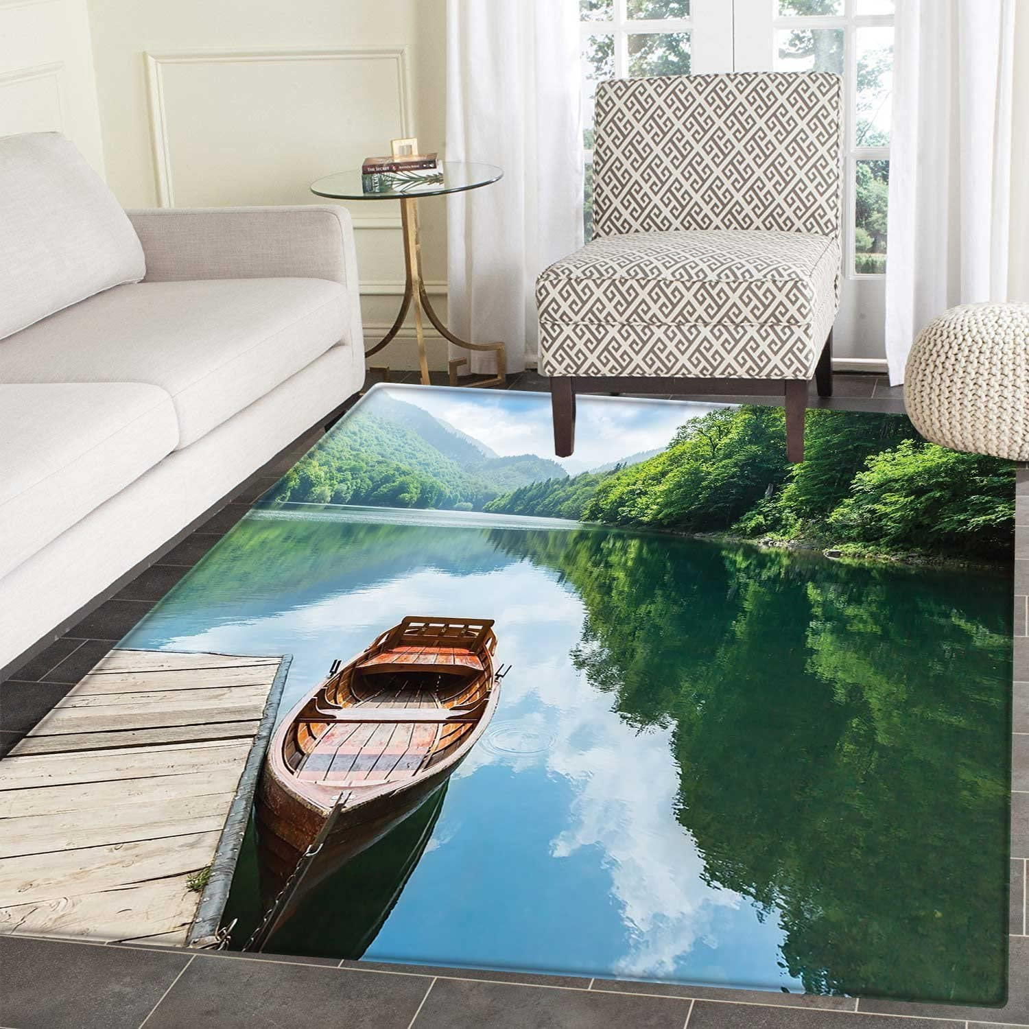 Lake Area Silky Smooth Rugs Wooden Boat At Pier On Biograd Mountain Lake Montenegro Idyllic Springtime Home Decor Area Rug 4 X5 Green Brown Pale Blue Amazon Co Uk Kitchen Home
