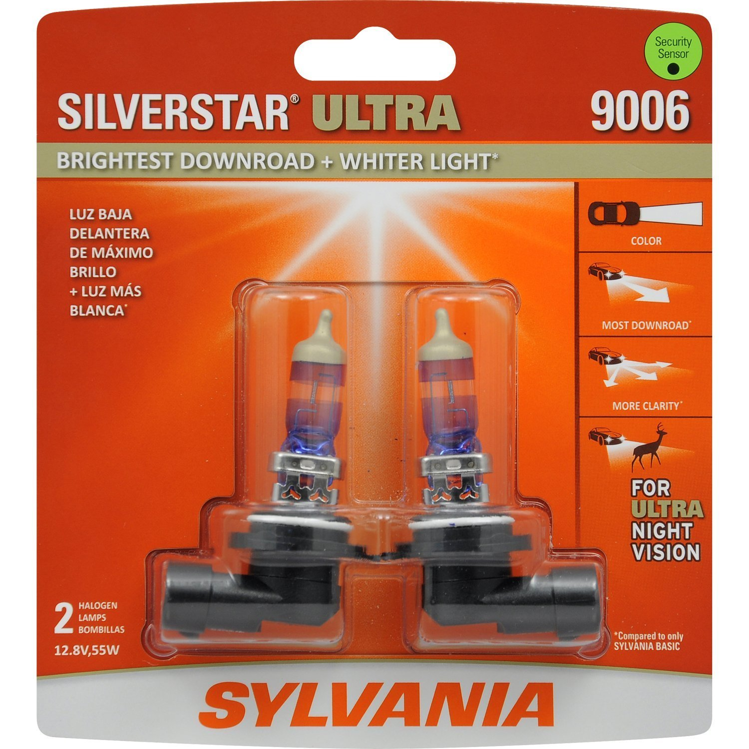 SYLVANIA - H7 SilverStar Ultra - High Performance Halogen Headlight Bulb, High Beam, Low Beam and Fog Replacement Bulb, Brightest Downroad with Whiter Light, Tri-Band Technology (Contains 2 Bulbs) H7SU.BP2