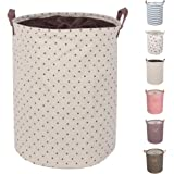 """DOKEHOM DKA0814BNL 19.7"""" Large Laundry Basket (Available 17.7"""" and 19.7""""), Drawstring Waterproof Round Cotton Linen Collapsible Storage Basket (Brown Dots, L)"""