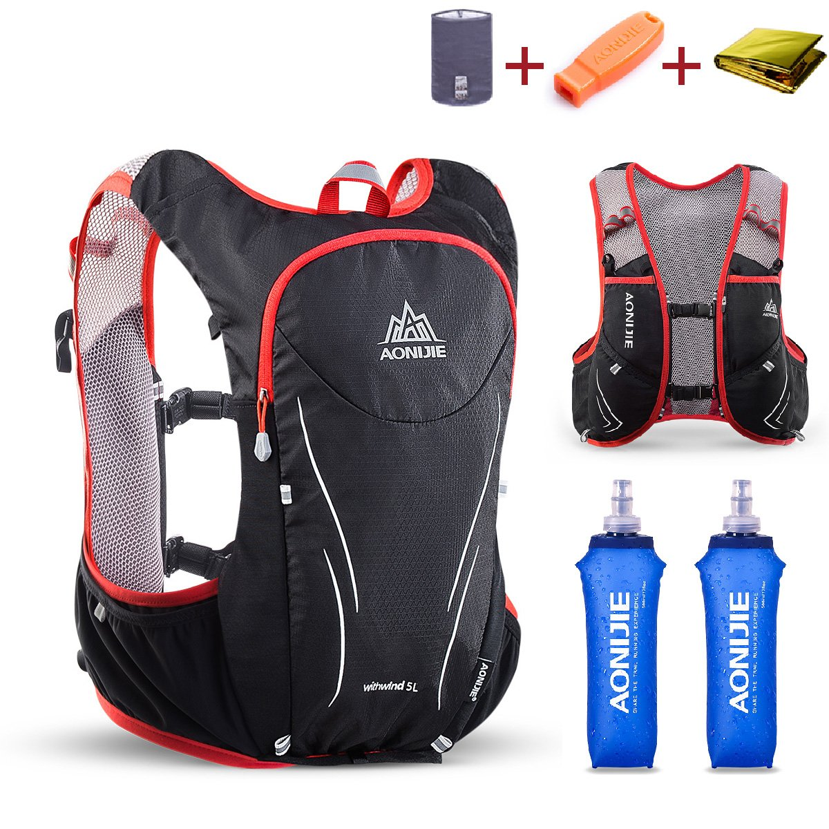 TRIWONDER Hydration Pack Backpack 5L Lightweight Deluxe Marathoner Running Race Hydration Vest (Black & Red - with 2 Soft Water Bottles, M/L - 34.6-39.4in)