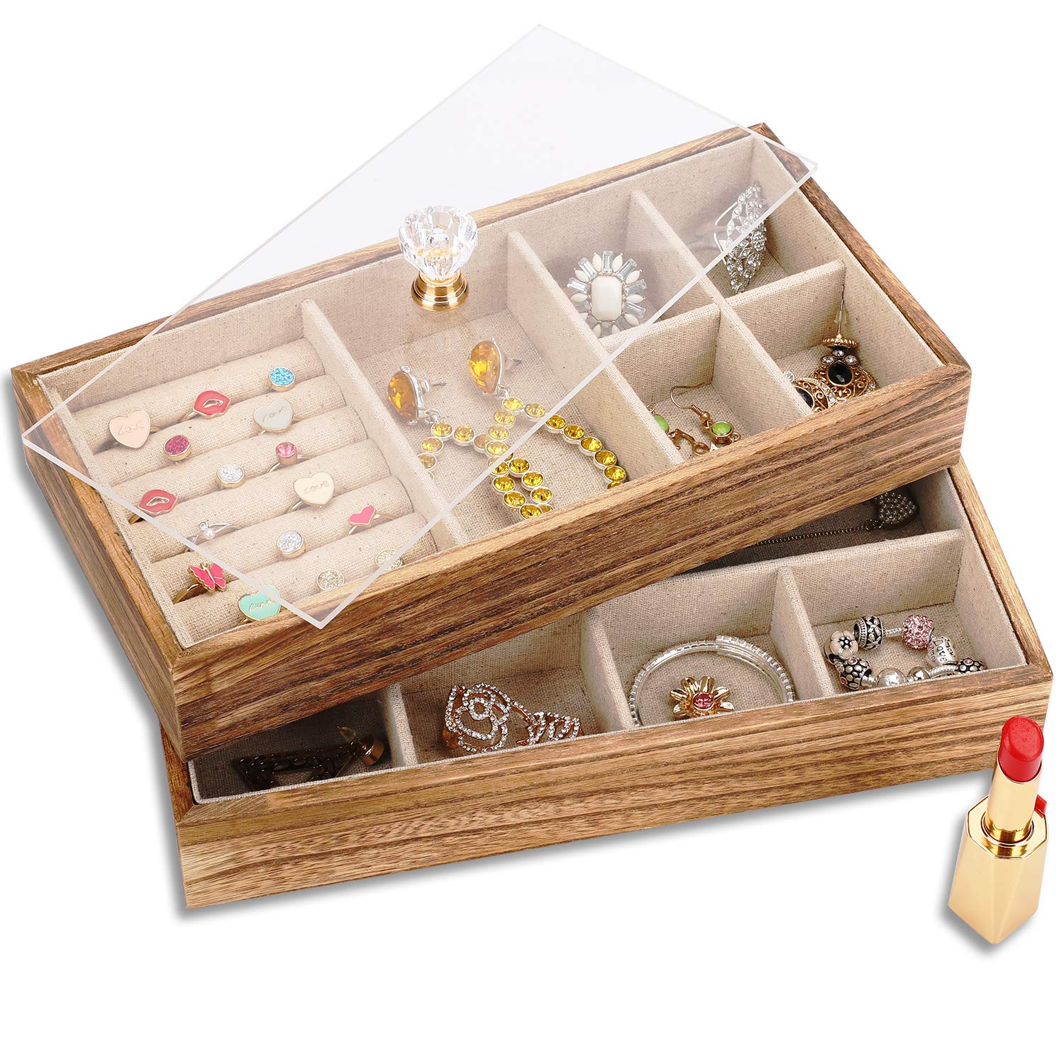 Keebofly Jewelry Tray with Lid Rustic Wood Jewelry Organizer Box Display with 2 Stackable Layers Jewelry Holder for Earrings Rings Necklaces - Carbonized Black