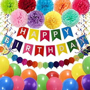 EEM Colorido Banner de Feliz cumpleaños con 6 Piezas Colorido Honeycomb Poms Colgante Remolino para Fiesta Fiesta Carnaval Niños Familia Fiesta de ...