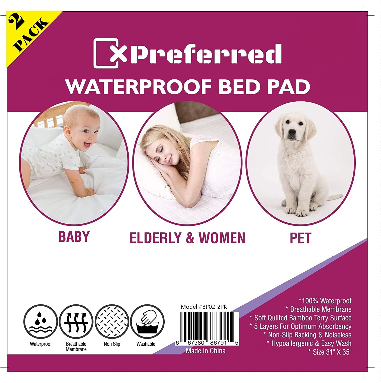 Hypoallergenic 1 Pack Waterproof Bed Pad Washable Terry Cloth -Baby Mattress and Chair Protective Cover - by X-Preferred 31x35 in Dogs Elderly Bed Wetting Non Slip Breathable