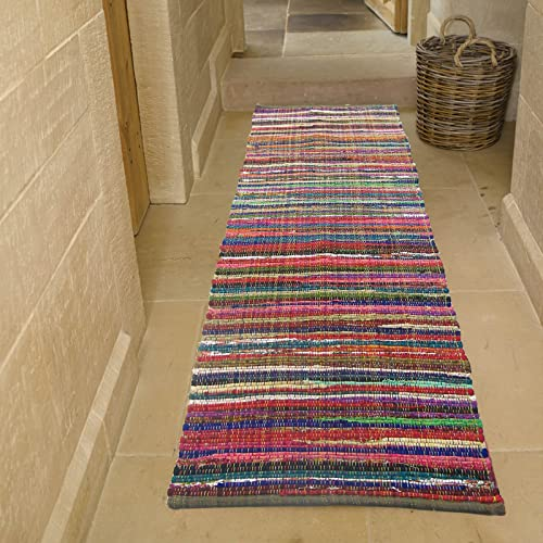 Eco friendly 100 Recycled cotton colorful Chindi Runner Area rug – 2 X7
